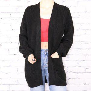 Guess black knit open front long cardigan c2